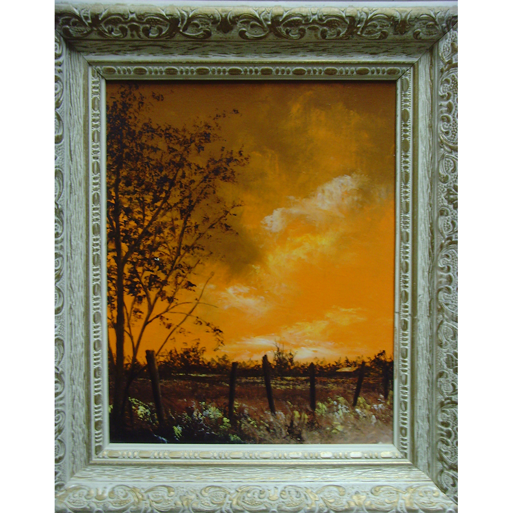 Landscape in Orange with Cabin