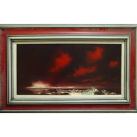 Seascape with Red Sky